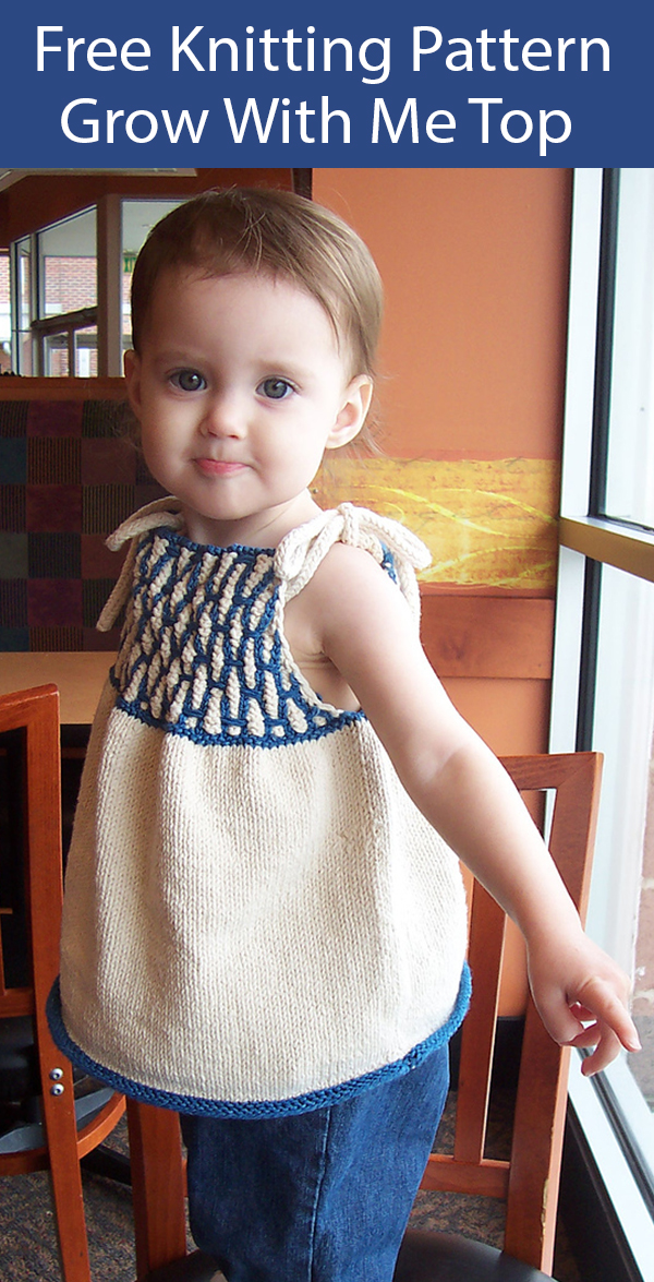 Free Knitting Pattern for Grow With Me Child's Top Sizes 2 to 8 yrs
