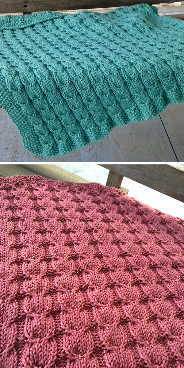 Knitting Pattern for Easy 6 Row Repeat Gulls and Sea Foam Baby Blanket
