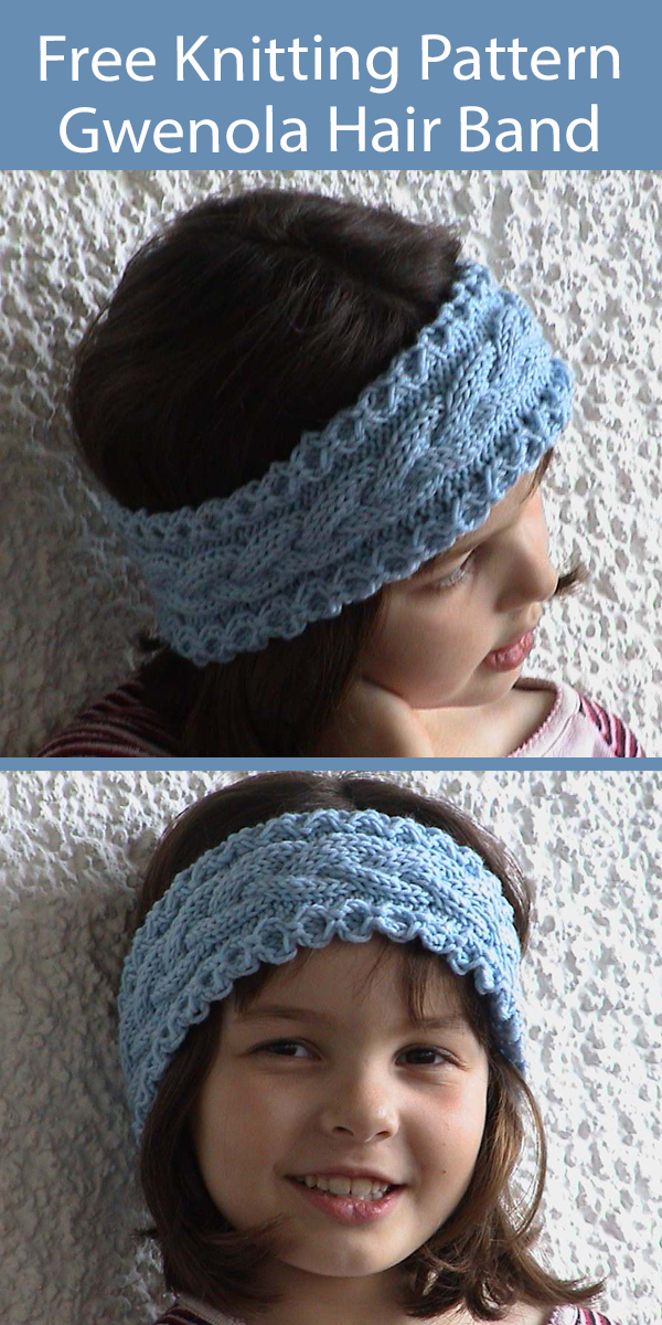 Free Headband Knitting Pattern Gwenola Hair Band for Children and Adults