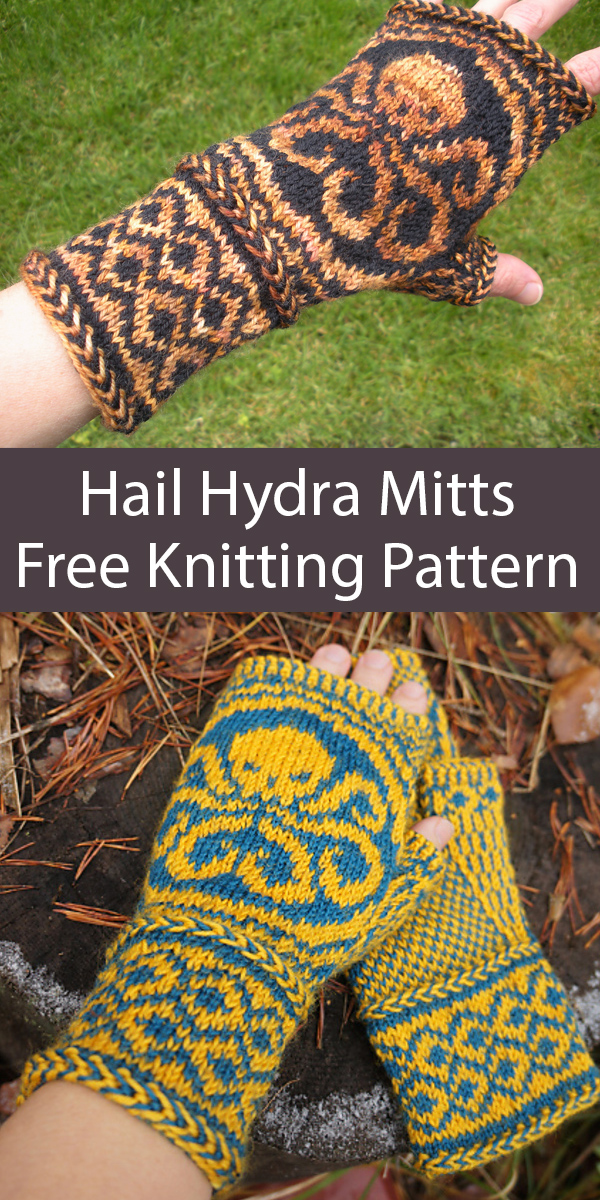 Free Knitting Pattern for Hail Hydra Mitts