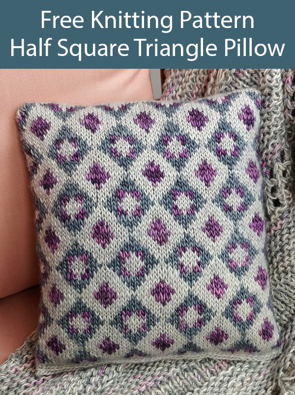 Free Knitting Pattern for Half Square Triangle Yarn Sketch Pillow