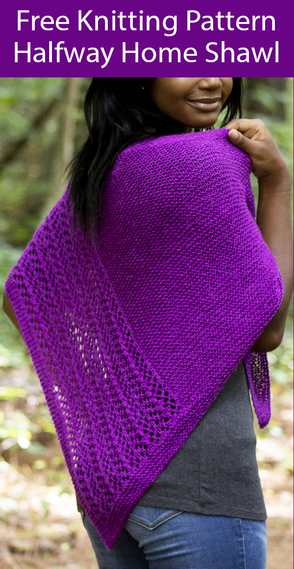 Free Knitting Pattern for Halfway Home Shawl