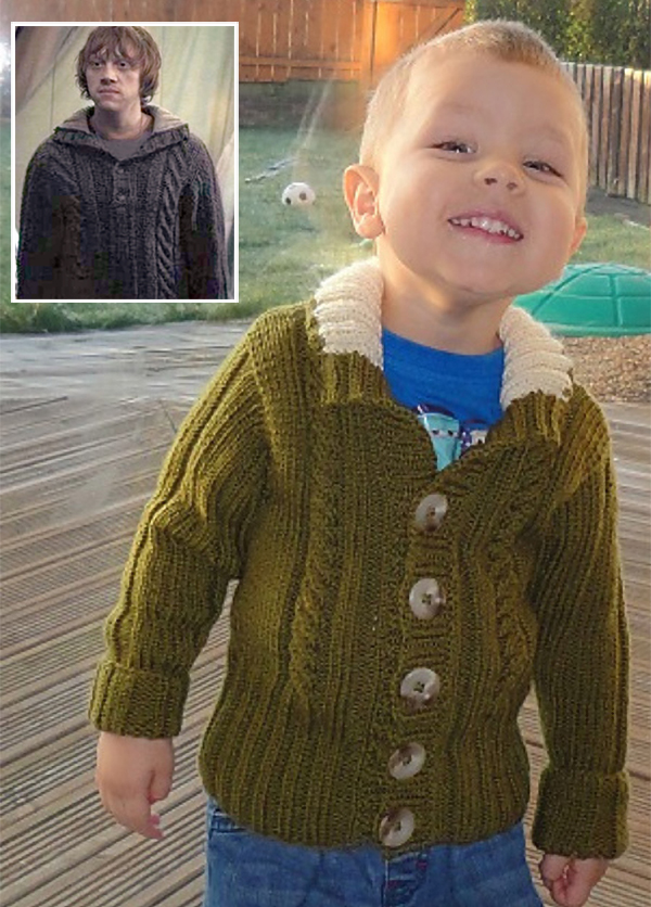 Free Knitting Pattern for Harry Potter Inspired Hallows Cardigan