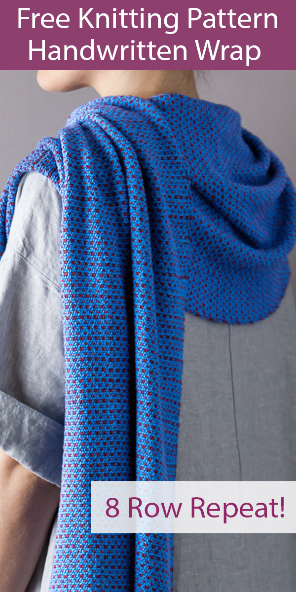 Free Knitting Pattern for Handwritten Wrap Shawl 8 Row Repeat