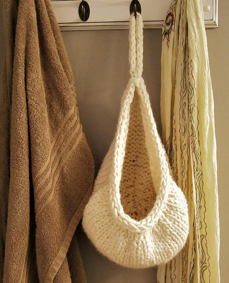 Free Knitting Pattern for Hanging Basket