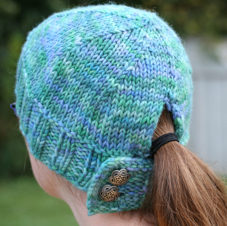 Free Knitting Pattern for Buttoned Ponytail Hat