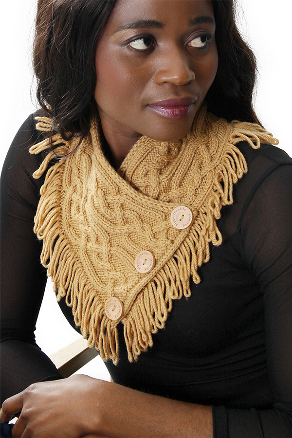 Knitting Pattern for Cabled Neckwarmer With Loop Fringe