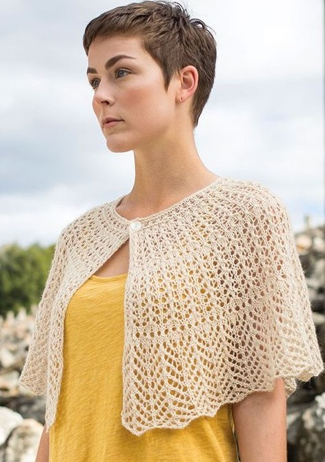 Free knitting pattern for Hantsuki lace shawl capelet