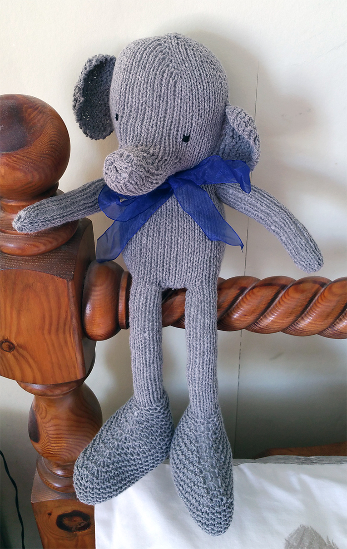 Free Knitting Pattern for Hap the Elephant