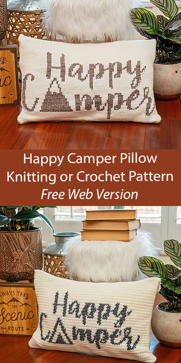 Free Knitting Pattern Happy Camper Pillow Cover