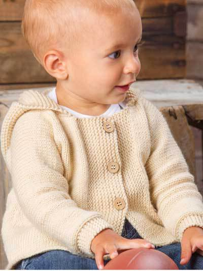 Knitting pattern for Happy Cheer hooded baby cardigan sweater