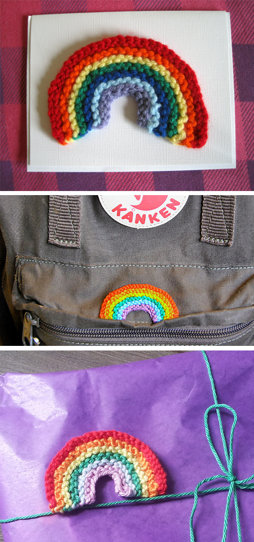 Free Knitting Pattern for Happy Rainbow Patch