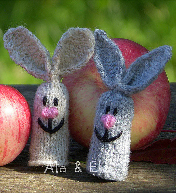 Free Knitting Pattern for Hare Finger Puppets