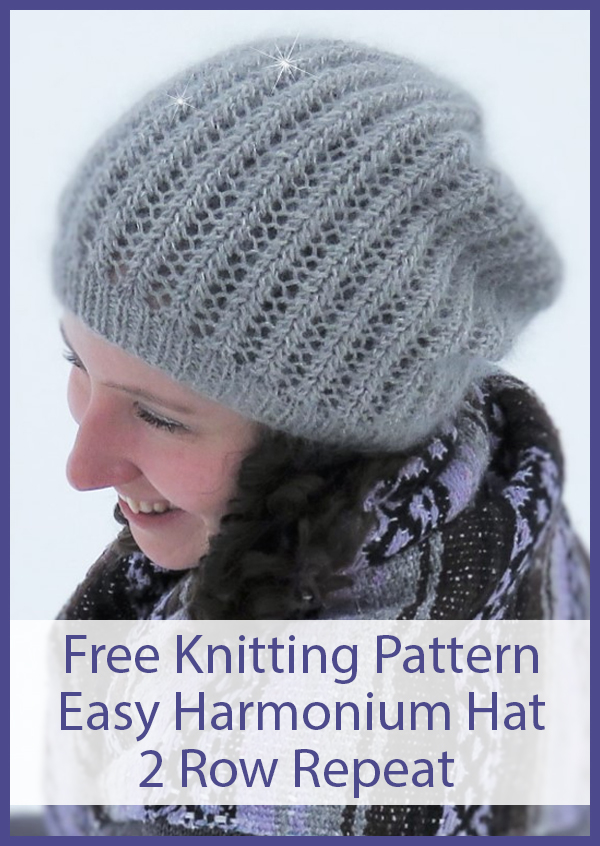 Free Knitting Pattern for Easy 2 Row Repeat Harmonium Slouch Hat and Beanie