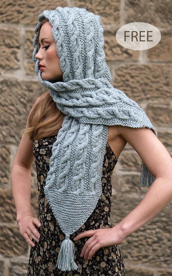 Free Knitting Pattern for Harriet Hooded Scarf