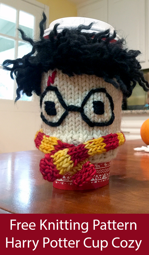 Free Knitting Pattern for Harry Potter Cup Cozy