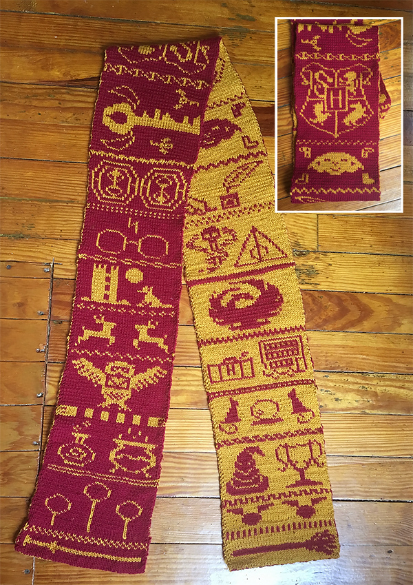 Free Knitting Pattern for Harry Potter Double Knit Scarf