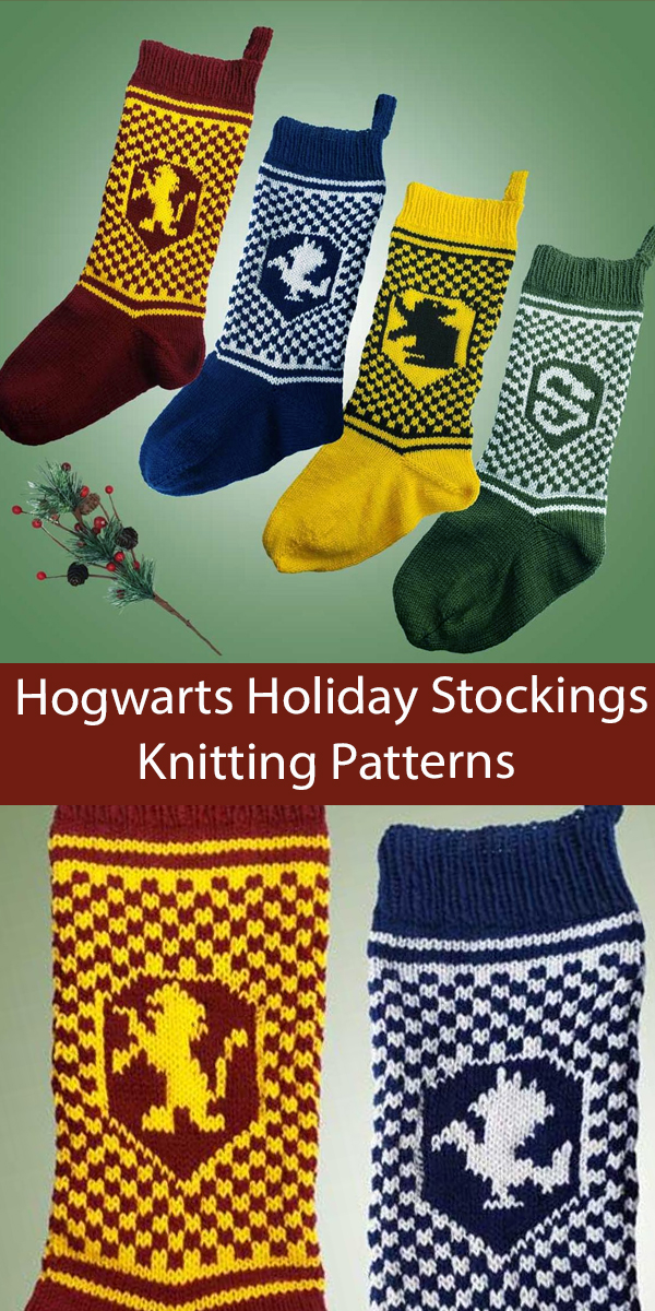 Harry Potter Inspired House Christmas Stockings Knitting Patterns