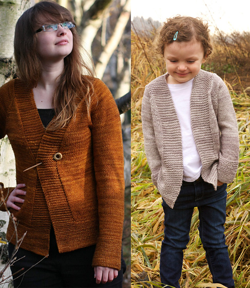 Free knitting pattern for Harvest Cardigan for the Whole Family