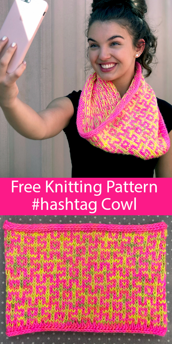 Free Knitting Pattern for #Hashtag Cowl