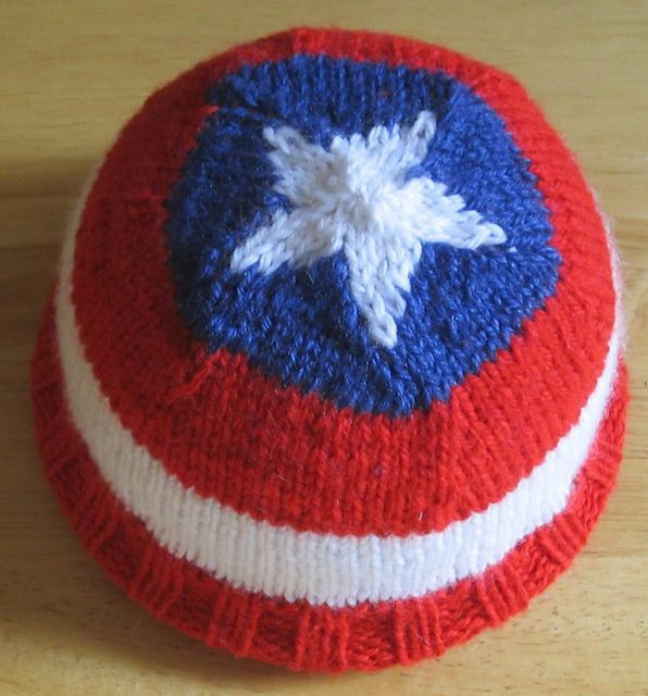 Hat of America Free Knitting Pattern inspired by Captain America's shield and more super hero knitting patterns