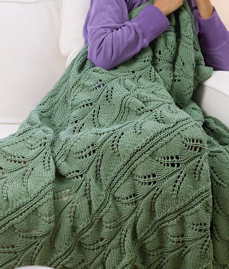Free Knitting Pattern for Hawaiian Lacy Fern Afghan
