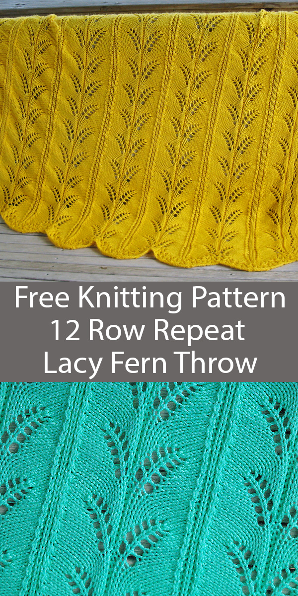 Free Knitting Pattern for 12 Row Repeat Lacy Fern Afghan