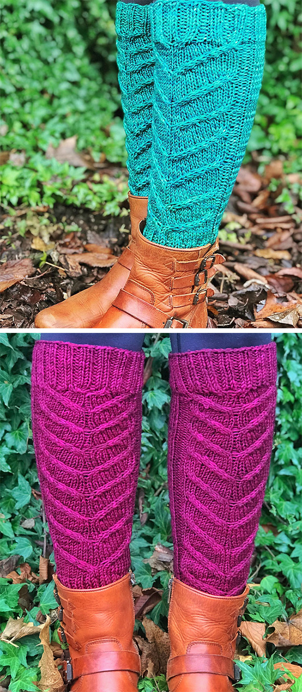 Free Knitting Pattern for 8 Row Repeat Hawthorne Leg Warmers