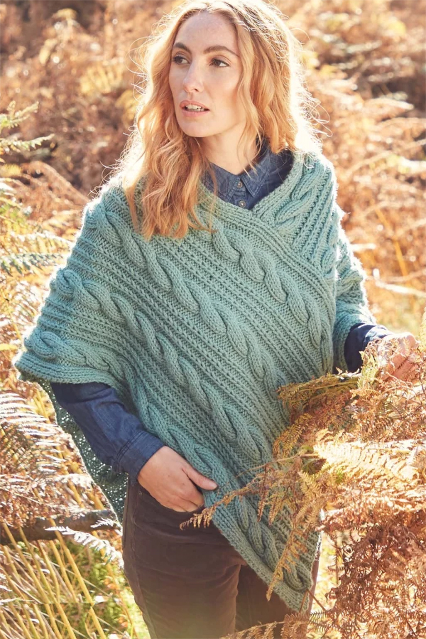 Knitting Pattern for Hayfield Cable Poncho