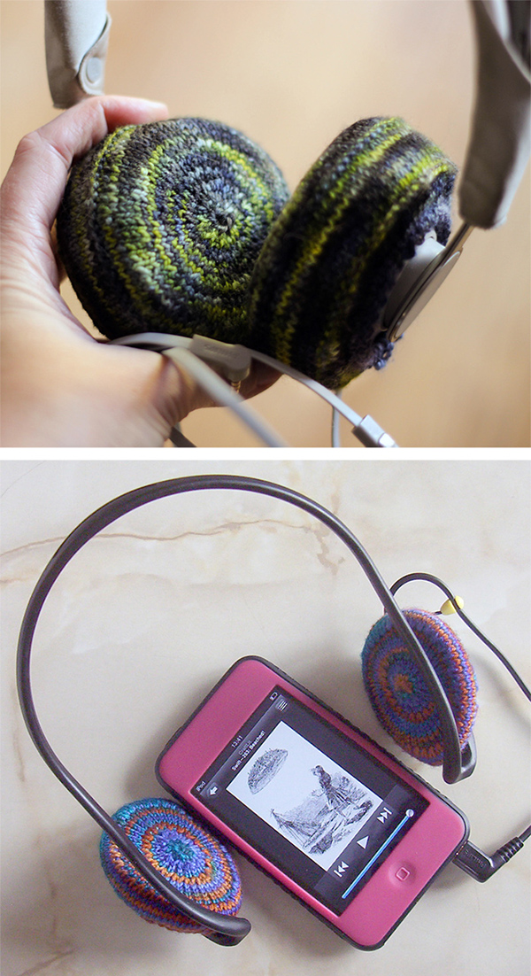 Free Knitting Pattern for EZ as pi Headphone Covers