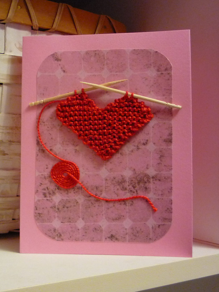 Free Knitting Pattern for Heart Card