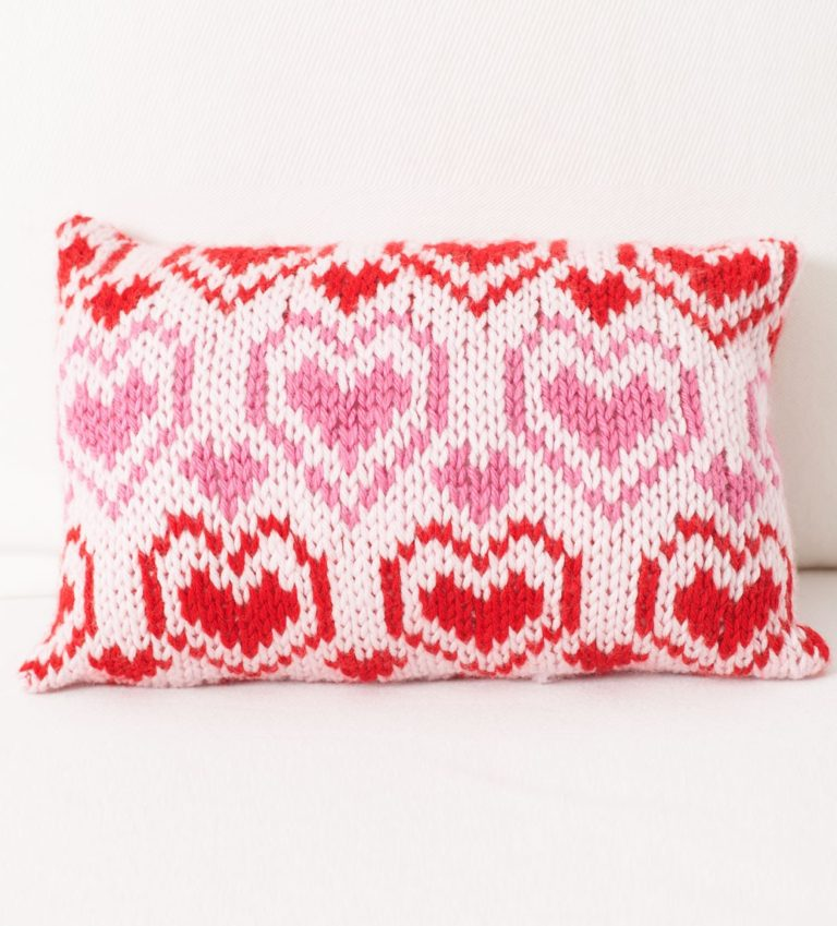 Free Knitting Pattern for Heart Comfort Pillow