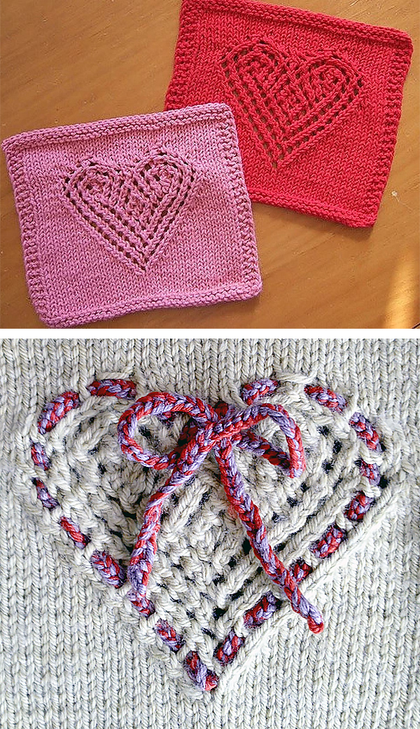 Free Knitting Pattern for Heart Lace Cloth