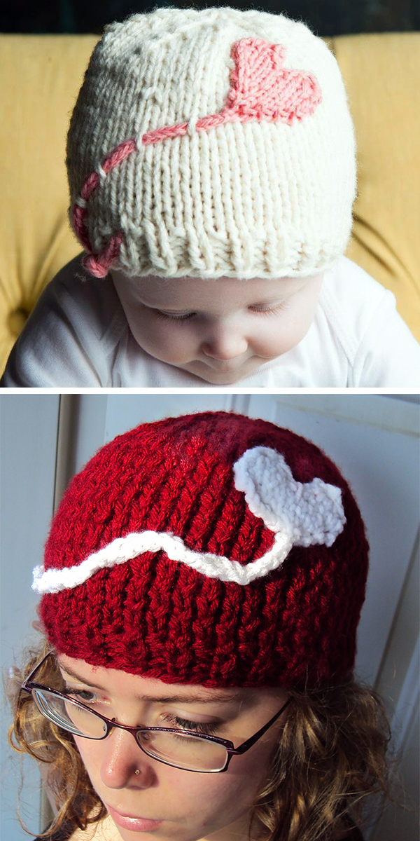 Free Knitting Pattern for Easy Heart on a String Hat