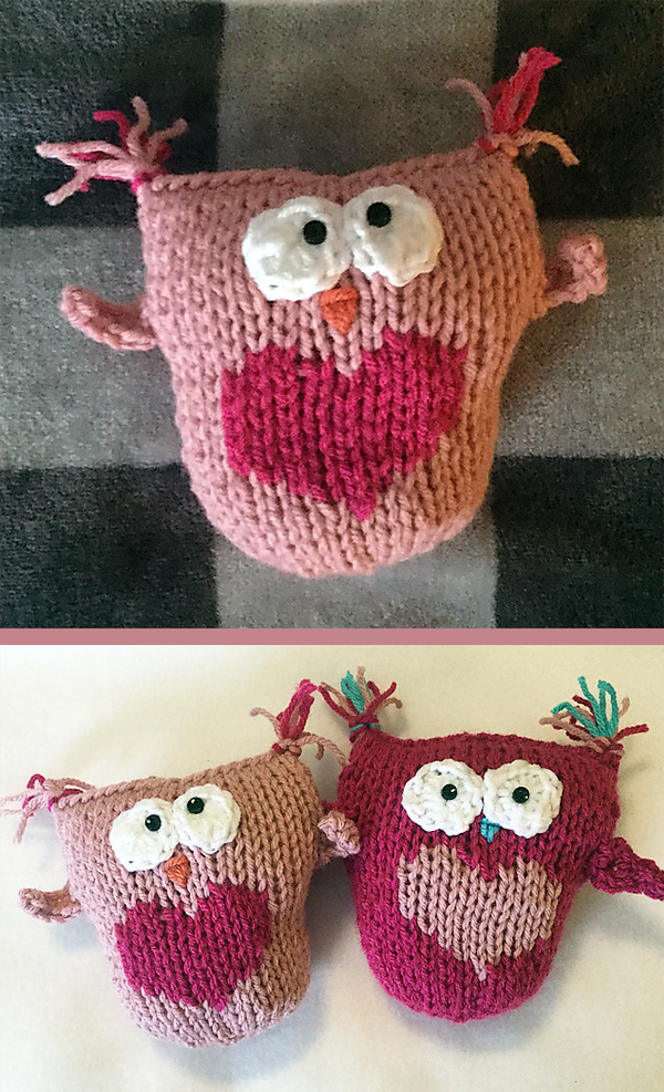 Free until February 14, 2020 Knitting Pattern for Heart Owl