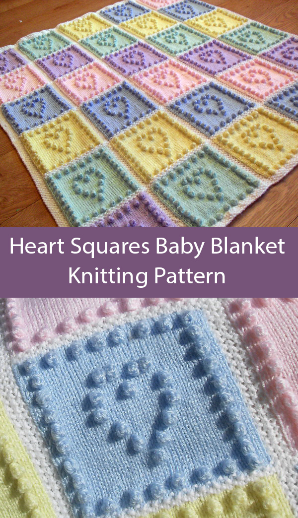 Knitting Pattern for Heart Squares Baby Blanket Stashbuster