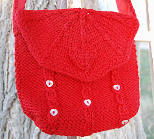 Free knitting pattern for Hearts and Cables Purse