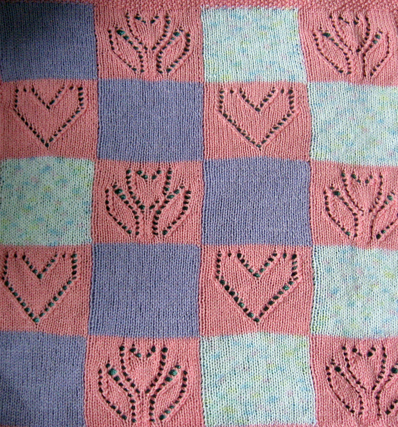Free Knitting Pattern for Hearts and Flowers Baby Blanket