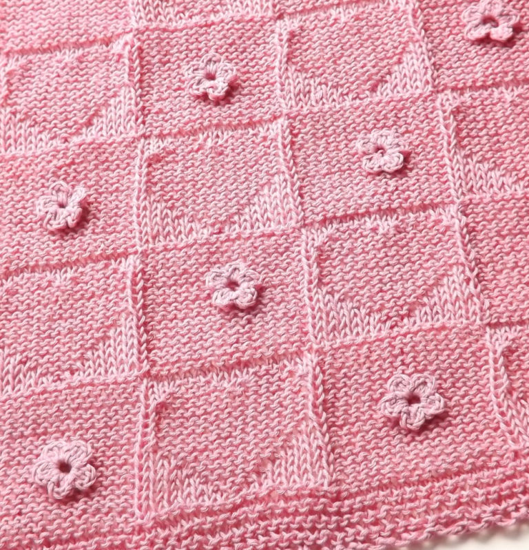 Knitting Pattern for Hearts and Flowers Stroller Baby Blanket