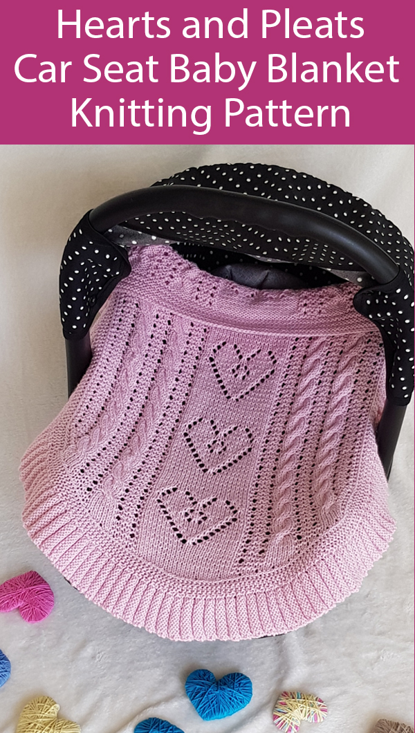 Knitting Pattern for Hearts and Pleat Car Seats Baby Blanket