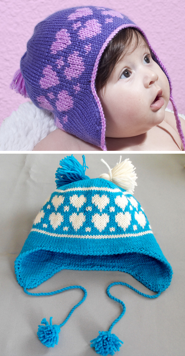 Free Knitting Pattern for Hearts Earflap Baby Hat