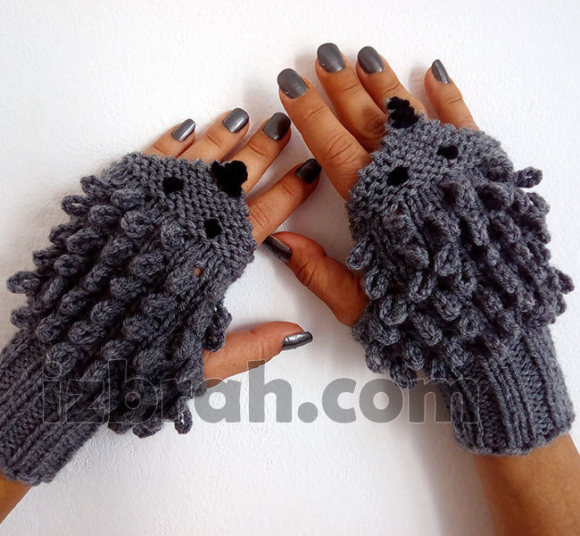 Knitting Pattern for Hedgehog Fingerless Mitts