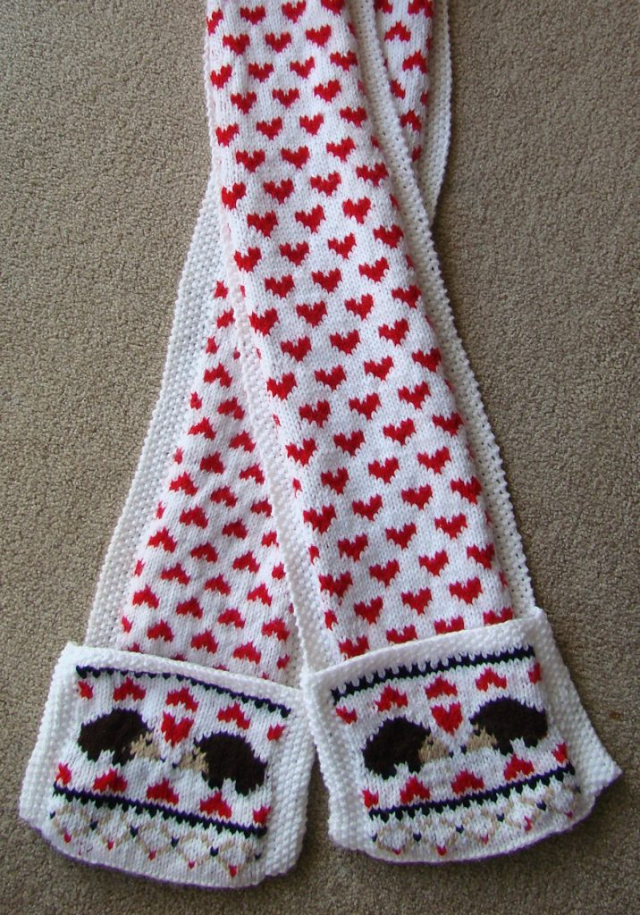 Free Knitting Pattern for Hedgehog Love Scarf