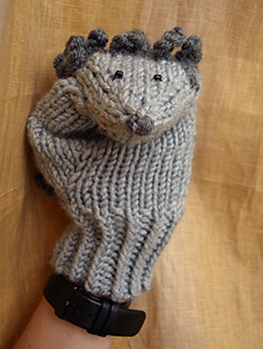 Free Knitting Pattern for Hedgehog Mittens