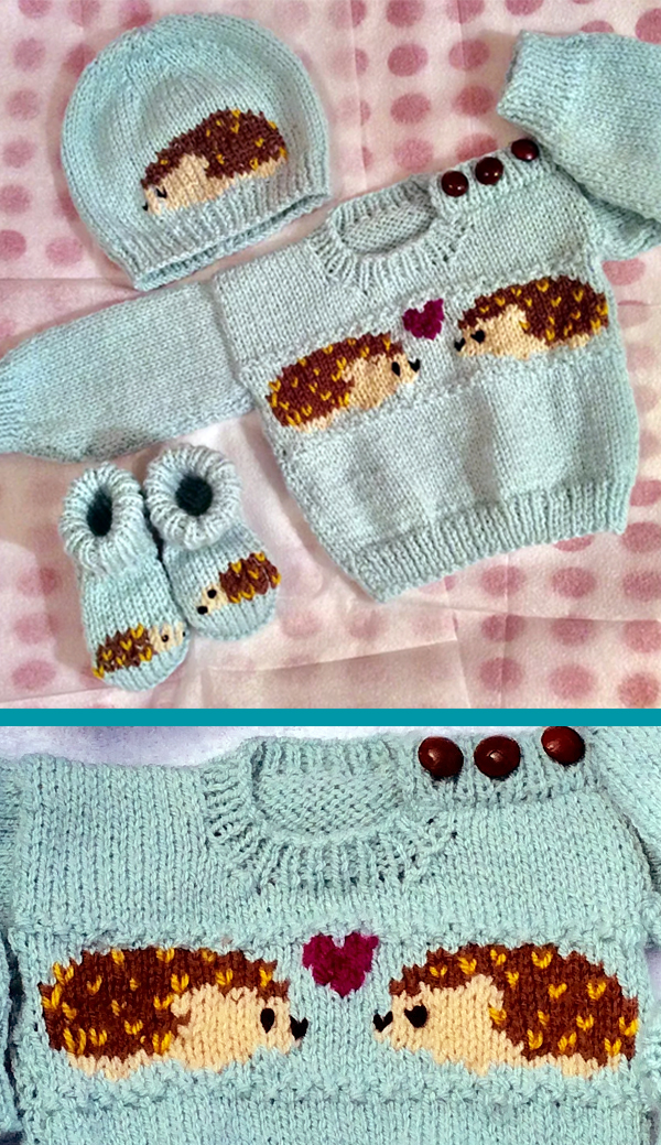 Knitting Pattern for Hedgehog Baby Sweater Set