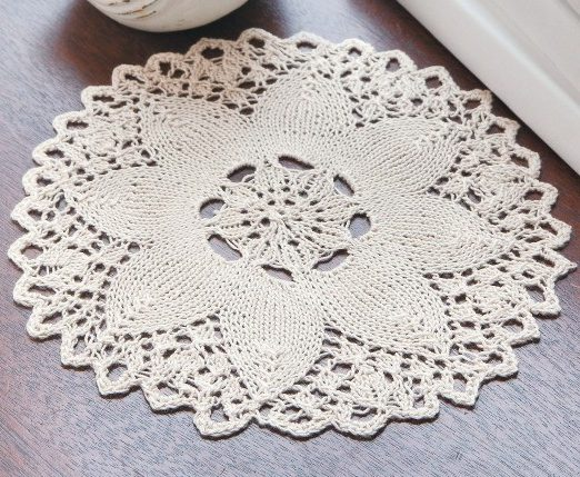 Knitting Pattern for Lace Flower Doily