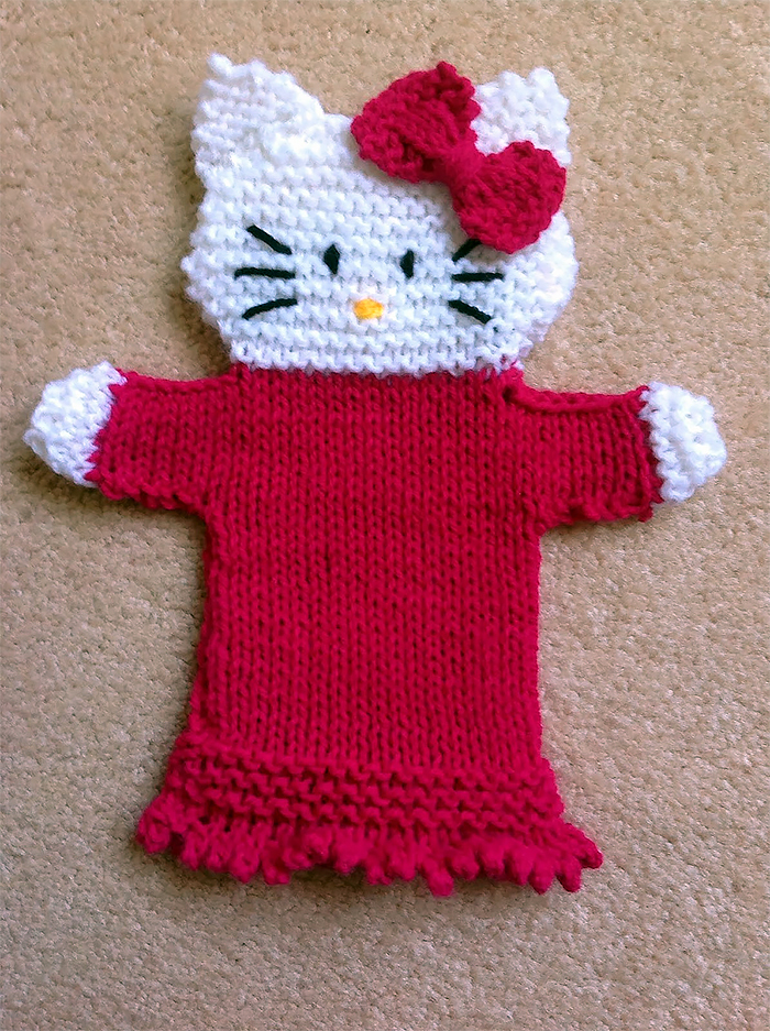 Free Knitting Pattern for Hello Kitty Hand Puppet