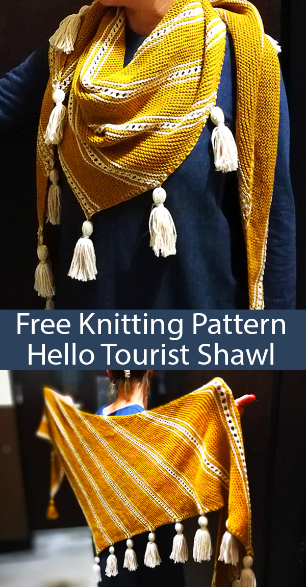 Free Knitting Pattern for Hello Tourist Shawl