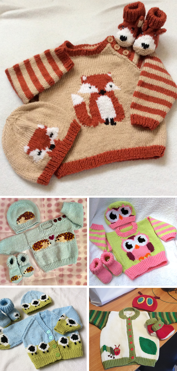 Knitting Patterns for Baby and Child Sweater Sets with Animal Themes