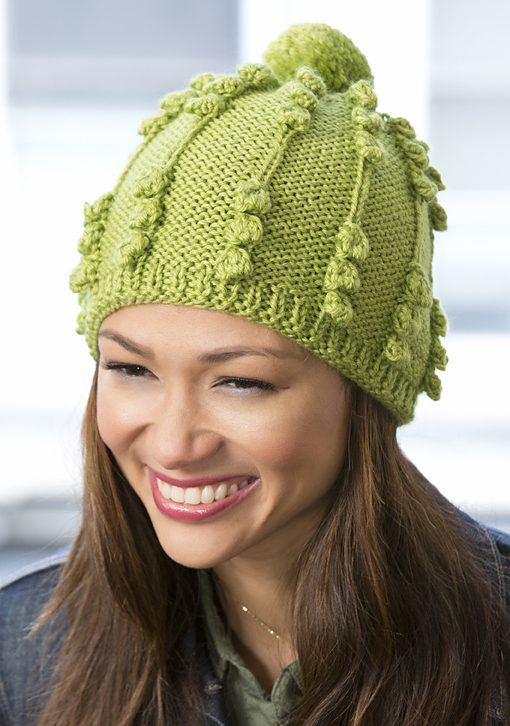 Free knitting pattern for Her Bobble Hat one skein hat